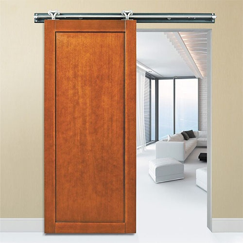 Sliding Shaker Style Architectural Wood Barn Door with Metal Hardware