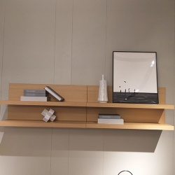 Floating wooden art shelf