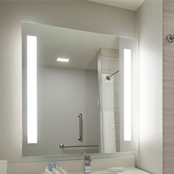 Front Lighted Mirror with Frosted Vertical Edges on Left and Right Sides
