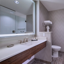 Engineered Stone Bath Vanity top and Wood Apron for Fairfield Inn and Suite Hotel